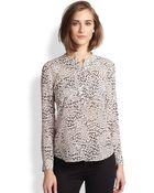 Rebecca Taylor Silk Leopard-Print Blouse - Lyst