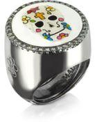 Azhar Calavera Skull Rhodium Plated Sterling Silver Adjustable Ring W/White Cubic Zirconia - Lyst