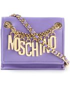 Moschino Logo-chain Calf-leather Shoulder Bag - Lyst