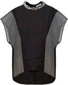 3.1 Phillip Lim Embellished Cloqué and Mesh Top - Lyst