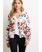 Love 21 Floral Print Bomber Jacket - Lyst