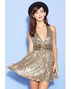 Forever 21 Sequin Halter Dress - Lyst