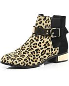 River Island Brown Leopard Print Pony Skin Chelsea Boots - Lyst