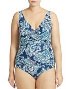 Lauren by Ralph Lauren Plus Twist Front One Piece Swim Suit - Lyst