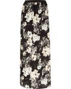 River Island Black Floral Print Maxi Skirt - Lyst