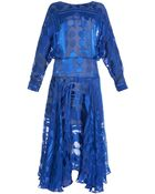 Preen By Thornton Bregazzi Ryde Spot And Stripe Devoré Dress - Lyst