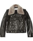 Acne Studios Shearling-Trimmed Leather Biker Jacket - Lyst