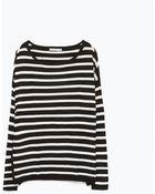 Zara Striped Boat Neck Sweater - Lyst