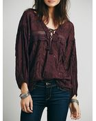Free People Eyelet Lace Up Peasant Top - Lyst