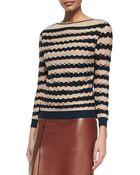 Nina Ricci Cotton/Cashmere Laser-Cut Wave Striped Sweater - Lyst