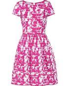 Oscar de la Renta Printed Stretch-Cotton Dress - Lyst