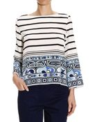 Emilio Pucci Top 3/4 Sleeve Crepes De Chine Silk With Lines Print - Lyst