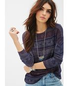 Forever 21 Geo Striped Knit Top - Lyst