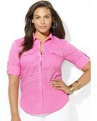 Lauren by Ralph Lauren Plus Polkadot Cotton Shirt - Lyst