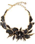Oscar de la Renta Enamel & Crystal Orchid Necklace - Lyst