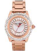 Betsey Johnson Women'S Rose Gold-Tone Stainless Steel Bracelet Watch 41Mm Bj00301-03 - Lyst