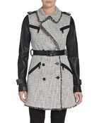 Rachel Zoe Tweed & Leather Trench Coat - Lyst