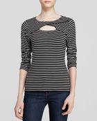 Vince Camuto Three Quarter Sleeve Cutout Striped Top - Lyst