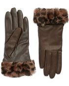 Ugg Australia Fur Cuff Leather Gloves - Lyst