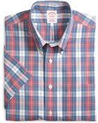 Brooks Brothers Non-Iron Regular Fit Plaid Short-Sleeve Sport Shirt - Lyst