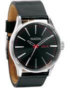 Nixon Sentry Black Leather Watch - Lyst