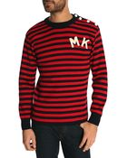 Maison Kitsuné Navy Blue And Red Patch Sailor Sweater - Lyst