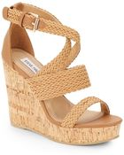 Steve Madden Slippie Braided-Pleather Wedge Sandals - Lyst
