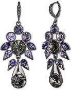 Givenchy Hematite Tone And Mixed Violet Crystal Cluster Drop Earrings - Lyst