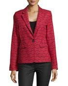 Alice + Olivia Geometric-Print One-Button Blazer - Lyst