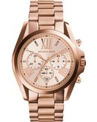Michael Kors Oversized Bradshaw Rose Gold-Tone Watch - Lyst