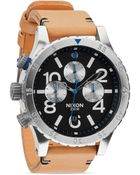 Nixon The 48-20 Chrono Leather Strap Watch, 48Mm - Lyst