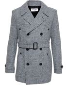 Saint Laurent Checked Wool Trench Coat - Lyst