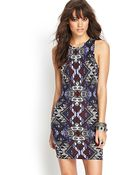 Forever 21 Tribal Print Bodycon Dress - Lyst