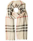 Burberry Check Wool Silk Gauze Scarf - Lyst