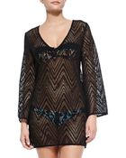 Milly Mykonos V-Neck Crochet Tunic Coverup - Lyst