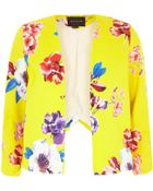 River Island Yellow Floral Print Structured Cropped Jacket - Lyst