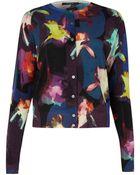 Paul Smith Black Label Purple Floral Print Cardigan - Lyst