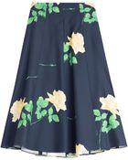 Michael Kors Printed Wool-Silk Midi Skirt - Lyst