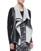 DKNY Asymmetric Zip Leather  Shearling Vest - Lyst