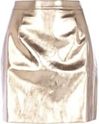 River Island Rose Gold Metallic Leather-Look Mini Skirt - Lyst