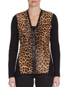 Elie Tahari Leopard-Print Calf Hair & Wool Sweater - Lyst