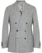 Thom Sweeney Duke Double-Breasted Check Linen Blazer - Lyst