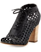 Steven By Steve Madden Monah Lace-Up Leather Wicker Pump - Lyst