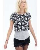 Forever 21 Layered Rose Print Top - Lyst