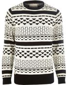 River Island Black Rvlt Graphic Print Knitted Jumper - Lyst