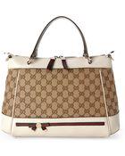 Gucci Beige & Ivory Mayfair Top Handle Bag - Lyst