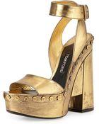 Tom Ford Metallic Ankle-Wrap Platform Sandal - Lyst