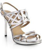 Diane von Furstenberg Dakota Metallic Leather Cutout Sandals - Lyst