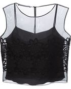 Alberta Ferretti Sheer Flower Embroidered Top - Lyst