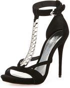 Alexander McQueen Suede T-Strap Metal Sandal - Lyst